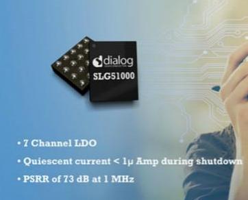 Dialog推出低压差线性稳压(LDO),可配置混合信号IC