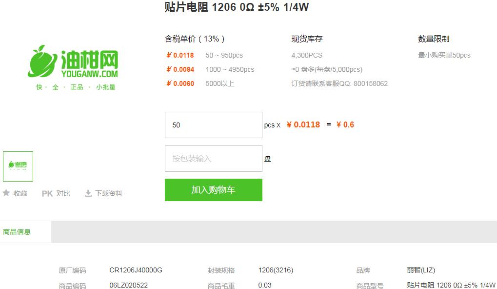 丽智贴片电阻_贴片电阻12060Ω±5%1/4Wx型号