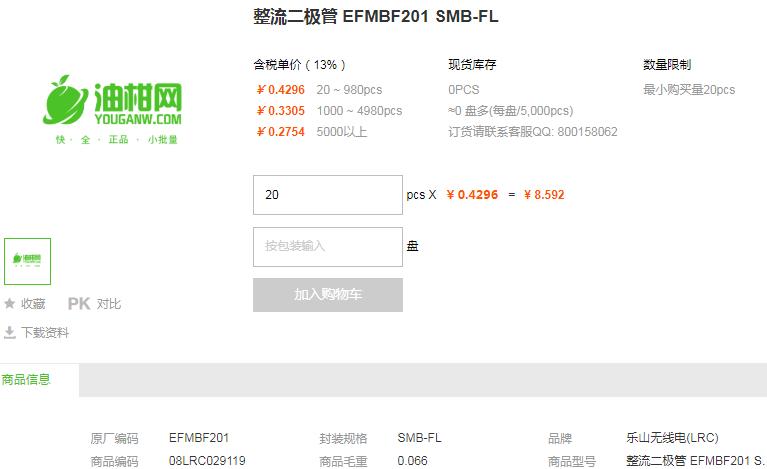 乐山无线电整流二极管EFMBF201 SMB-FL型号详情